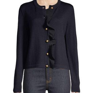 Tory Burch Merino Wool Cardigan Open Front Sweater
